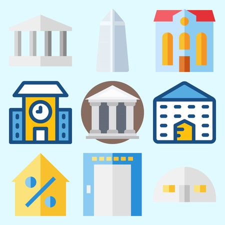 Icons set about Construction with real estate, school, Washington monument, monumental, museum and elevator