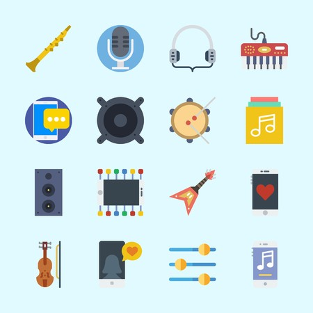 Icons about Music with headphones, announcer, piano, smartphone, music player and music album