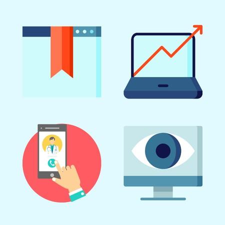 Symbole setzen über Seo mit Überwachung, Smartphone, entdecken, finden und Statistiken