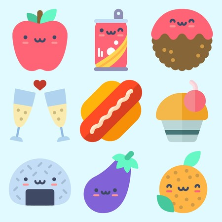 Icons set about Food with apple, onigiri, orange, soda, toast and eggplant