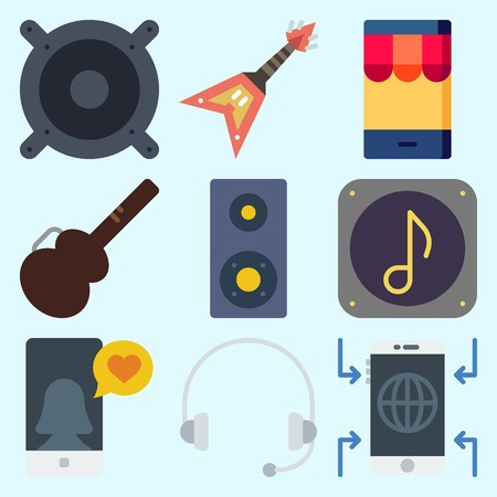 Icons set about Music with guitar protector, smartphone, speaker, headphone, electric guitar and announcer Çizim