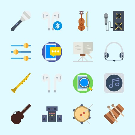 Icons about Music with announcer, sound system, xylophone, guitar protector, smartphone and music file