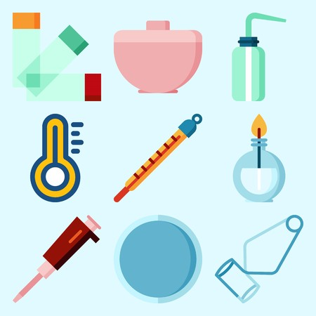 Icons set about Laboratory with trough, desiccator, separator funnel, burner, condenser and thermometer