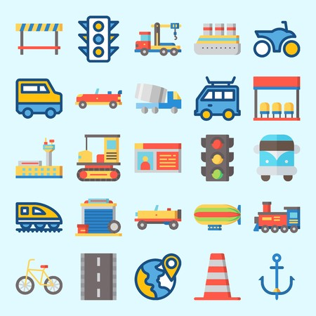 Icons set about Transportation with anchor, road, plane, road block, driving license and bus stop