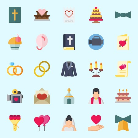 Icons set about Wedding with suit, bouquet, bell, candelabra, cupcake and video camera