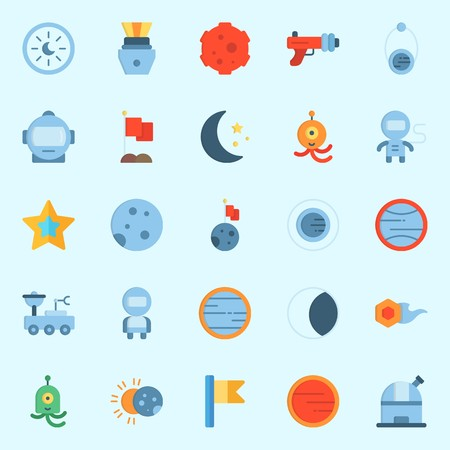 Icons set about Universe with star, alien, venus, observatory, blaster and mars