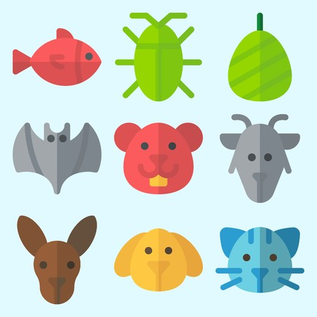 Icons set about Animals with cat, hamster, goat, fish, bat and cocoon Illustration