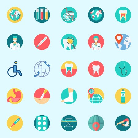 Icons set about Medical with location, worldwide, wheelchair, surgery, tooth and teeth