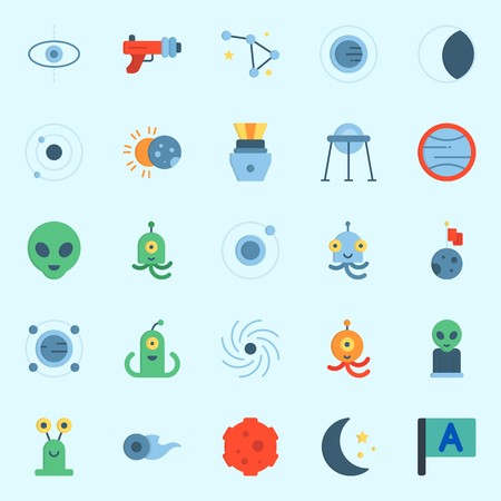 Icons set about Universe with eclipse, blaster, comet, moon, uran and black hole