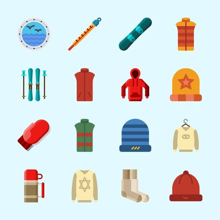 Icons about Winter with thermometer, vest, sweater, hoodie, thermo and socks
