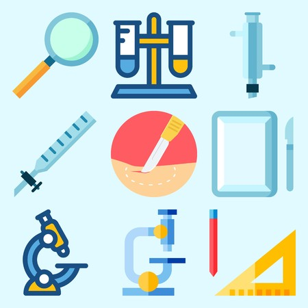 Icons set about Laboratory with surgery, measuring, test tube, kipps apparatus, condenser and microscope