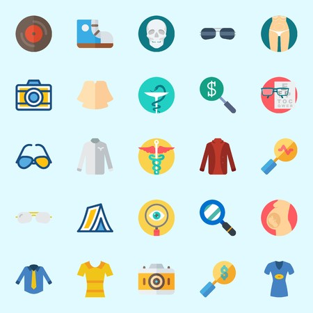 Icons set about Hippies with slim, skull, tent, photo camera, snell en chart and search