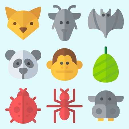 Icons set about Animals with cocoon, fox, ladybug, bat, ant and monkey