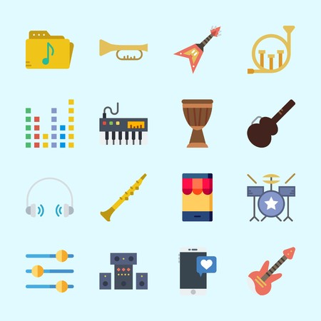 Icons about Music with guitar protector, piano, trumpet, music folder, electric guitar and drum set