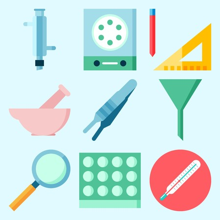 Icons set about Laboratory with laboratory, loupe, measuring, lab, thermometer and funnel