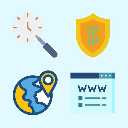 Icons set about Seo with location, domain registration, shield, search and plane