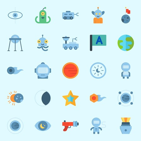 Icons set about Universe with comet, astronaut, earth, alien, moon rover and orbit