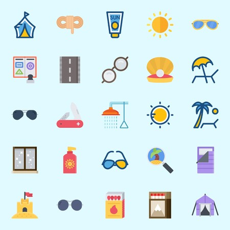 Icons set about Beach And Camping with bathing, tent, pearl, sunbed, sleeping bag and road