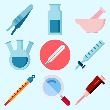 チューブ、温度計、ルーペ、ラボ、コンデンサー、ガス瓶を備えた実験室に関するアイコン  イラスト・ベクター素材