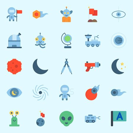 Icons set about Universe with flag, blaster, orbit, black hole, comet and astronaut