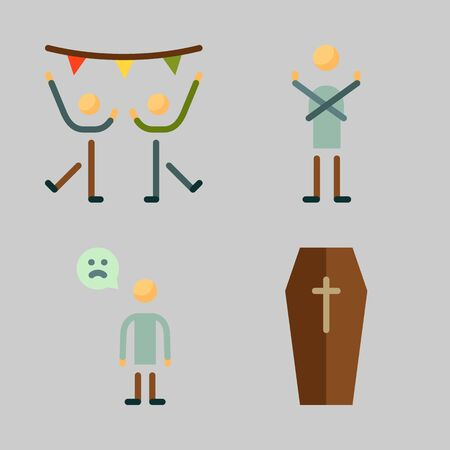 Icons set about Human with sad man, dancing, dancer and coffin Ilustracja