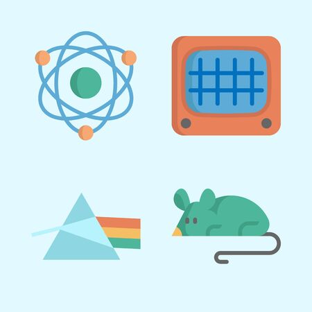 Icons about Science with monitor, refraction, atom and mouse