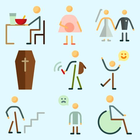 Icons set about Human with couple, man, going up, happy man, student and sad man