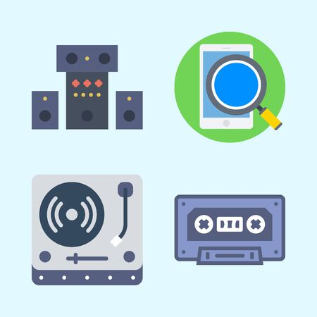 Icons set about Music with cassette, turntable, sound system and smartphone Çizim