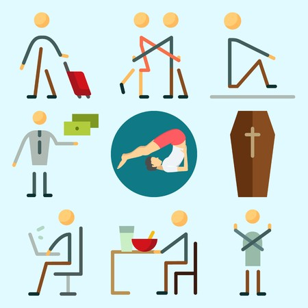 Icons set about Human with working, yoga, hug, dancer, man and traveller