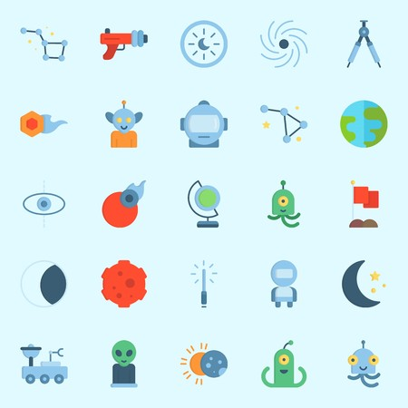 Icons set about Universe with flag, alien, constellation, comet, astrology and earth glope Illustration