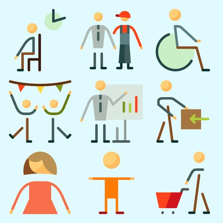 Icons set about Human with disable, waiting room, shopping, kid, femenine and whiteboard