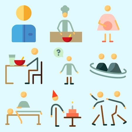 Icons set about Human with eather, pregnant, massage, aggressive, male and question Illustration