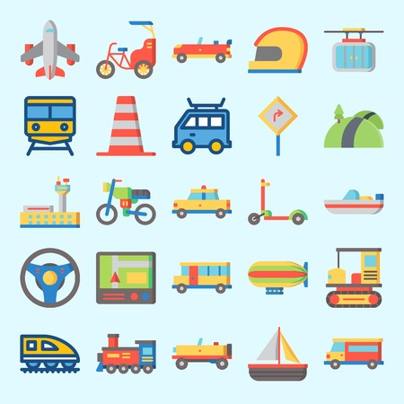 Icons set about Transportation with cone, car, locomotive, cable car, van and bus