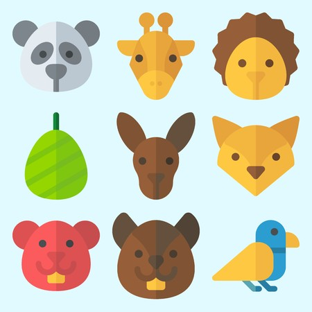 Icons set about Animals with squirrel, cocoon, giraffe, panda, kangaroo and hamster