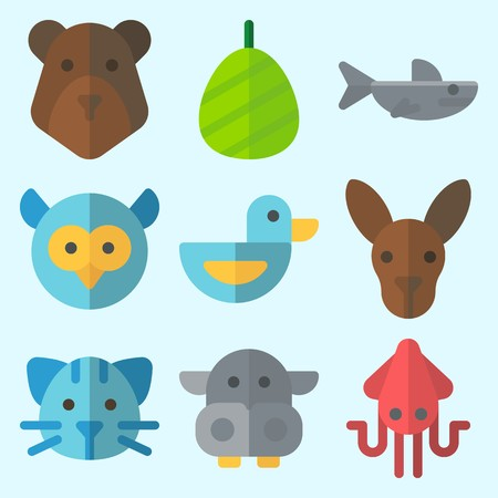 Icons set about Animals with kangaroo, duck, cat, squid, hippopatamus and cocoon Çizim