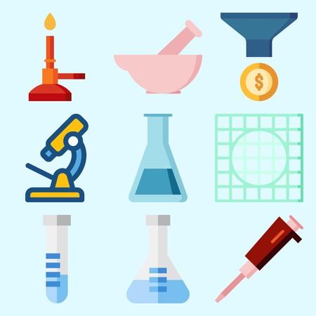 漏斗、フラスコ、コンデンサー、試験管、実験室および顕微鏡が付いている実験室について設定されるアイコン