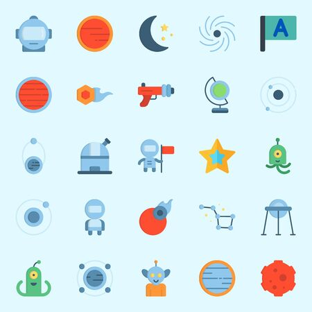 Icons set about Universe with flag, constellation, observatory, capsule, venus and black hole