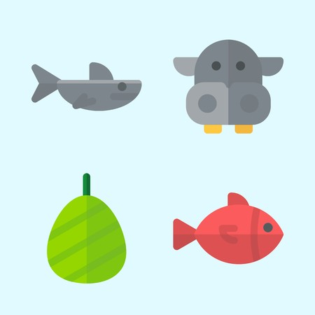 Icons set about Animals with shark, fish, hippopatamus and cocoon