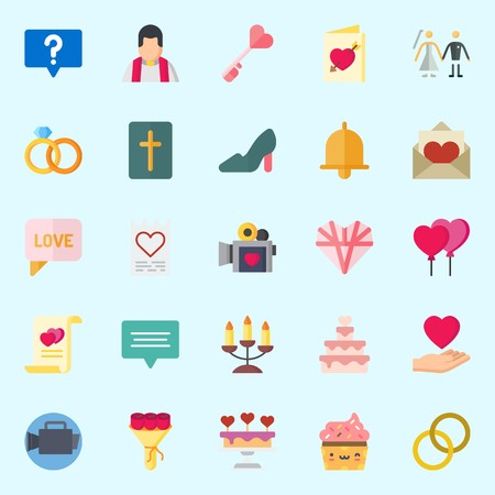 Icons about Wedding with wedding cake, love letter, marriage, cupcake, candelabra and priest