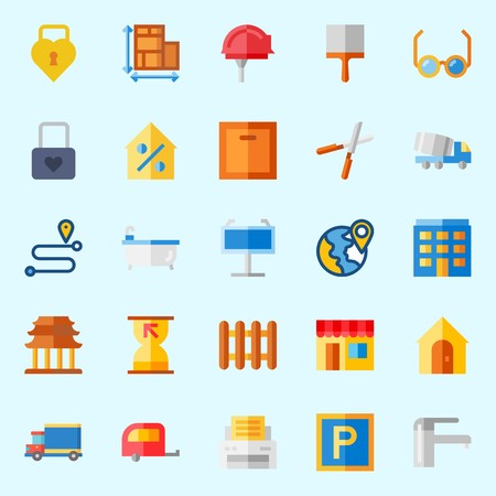 Icons about Real Assets with motor home, location, route, padlock, reading glasses and property