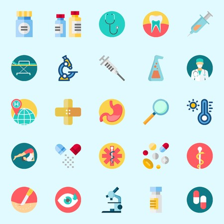 Icons about Medical with medicine, pharmacy, stethoscope, surgery, syringe and visibility Illustration