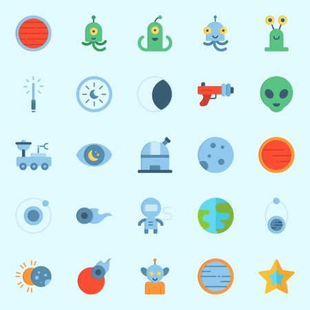 Icons set about Universe with moon, orbit, alien, moon rover, astronaut and blaster