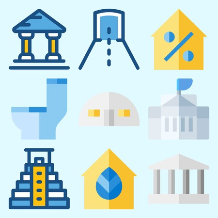 Icons set about Construction with store house, white house, pyramid, wc, tunnel and real estate Иллюстрация