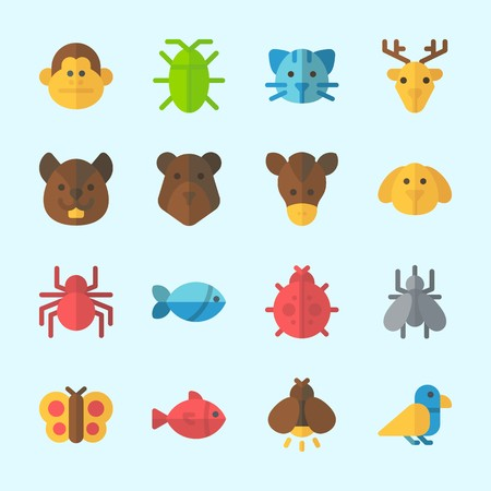 Icons about Animals with cat, dog, fish, deer, bird and firefly Illustration