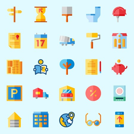 Icons about Real Assets with location, up, plane, measuring, worker and percentage Illustration