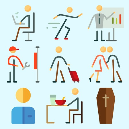 Icons set about Human with worker, reperation, coffin, working, male and whiteboard Illustration