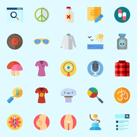Icons about Hippies with shirt, vinyl, microphone, sun, slim and pregnancy
