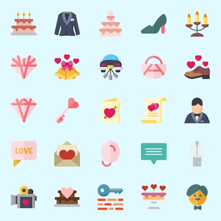 Icons about Wedding with shoe, love letter, groom, key, candelabra and handbag Illustration
