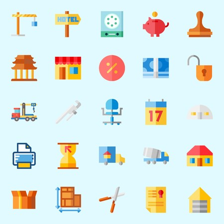 Icons about Real Assets with truck, metallic blind, savings, winch, hotel and measuring Illustration