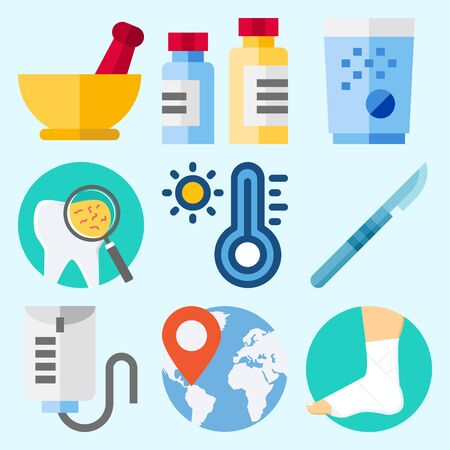 Icons set about Medical with medicine, sprain, mortar, tooth, location and surgery Illustration
